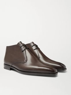 Leather Chukka Boots - Men - Brown