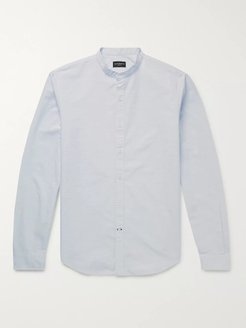 Slim-Fit Grandad-Collar Linen Shirt - Men - Blue