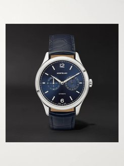Heritage Chronométrie Twincounter Date Automatic 40mm Stainless Steel and Alligator Watch, Ref. No. 116244 - Men - Blue