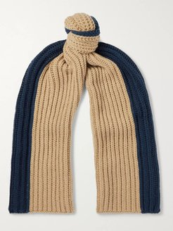 Two-Tone Ribbed Cashmere Scarf - Men - Neutrals