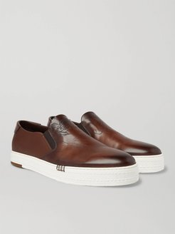 Playtime Scritto Leather Slip-On Sneakers - Men - Brown