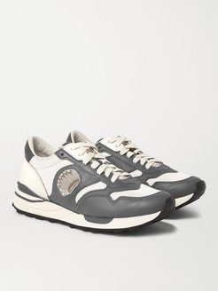 Roland Leather-Trimmed Suede and Mesh Sneakers - Men - Gray