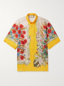 Button-Down Collar Embroidered and Printed Silk-Satin Shirt - Men - Yellow