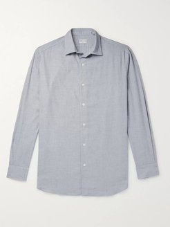 Cotton and Wool-Blend Flannel Shirt - Men - Gray