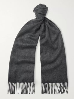 Fringed Cashmere Scarf - Men - Gray