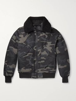 Bromley Shearling-Trimmed Camouflage-Print Shell Down Bomber Jacket - Men - Black