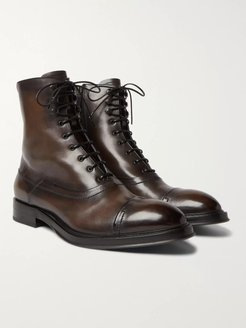 Shearling-Lined Leather Boots - Men - Brown
