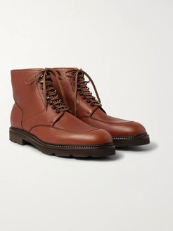 Helston Pebble-Grain Leather Boots - Men - Brown
