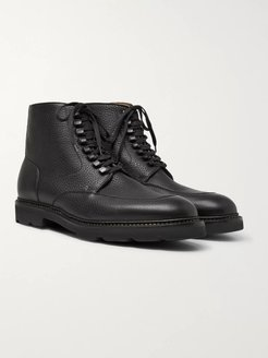 Helston Pebble-Grain Leather Boots - Men - Black