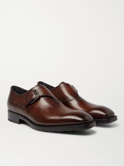 Leather Monk-Strap Shoes - Men - Brown