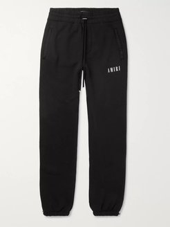 Tapered Printed Loopback Cotton-Jersey Sweatpants - Men - Black