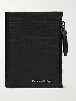 Textured-Leather Trifold Wallet - Men - Black
