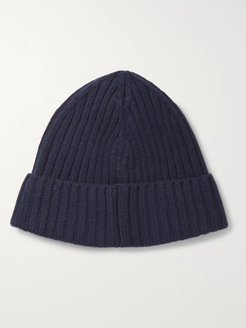 Ribbed Wool and Cashmere-Blend Beanie - Men - Blue