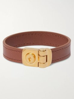 Leather and Gold-Tone Bracelet - Men - Brown