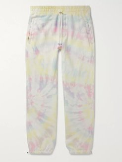 Tie-Dyed Loopback Cotton-Jersey Sweatpants - Men - Yellow