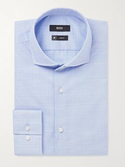 Blue Jason Slim-Fit Cutaway Collar Prince of Wales Checked Cotton Shirt - Men - Blue