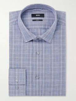 Navy Slim-Fit Prince of Wales Checked Cotton and Linen-Blend Shirt - Men - Blue