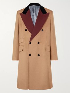 Velvet and Twill-Trimmed Double-Breasted Camel Hair Coat - Men - Brown