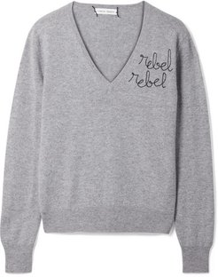 Rebel Rebel Embroidered Cashmere Sweater - Gray