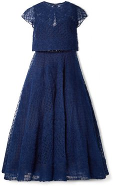 Honeycomb Embellished Tulle Midi Dress - Navy