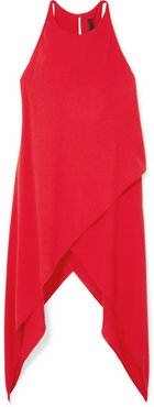 Asymmetric Crepe Top - Red