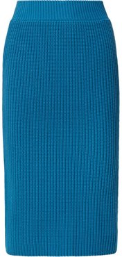Ribbed Cotton Skirt - Bright blue