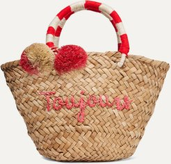 St Tropez Mini Pompom-embellished Embroidered Woven Straw Tote - Neutral