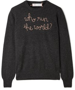 Who Run The World Embroidered Cashmere Sweater - Charcoal