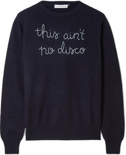 This Ain't No Disco Embroidered Cashmere Sweater - Navy
