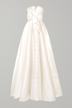 Bow-detailed Embellished Satin-twill Gown - White
