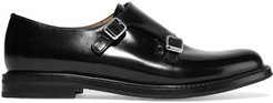 Lora R Buckled Glossed-leather Brogues - Black