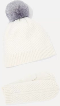 Cashmere Mittens And Pompom-embellished Beanie Set - White