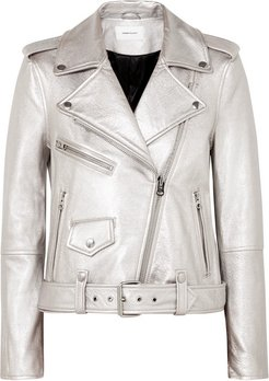 The Shaina Metallic Textured-leather Biker Jacket - Silver