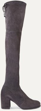 Tieland Stretch-suede Over-the-knee Boots - Dark gray