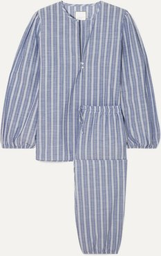 Striped Cotton Pajama Set - Light blue