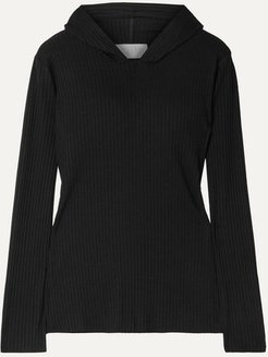 Angelique Ribbed Stretch-jersey Hoodie - Black