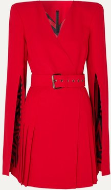 Belted Crepe Wrap-effect Mini Dress - Red