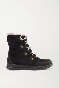 Explorer Joan Faux Fur-trimmed Waterproof Suede And Leather Ankle Boots - Black