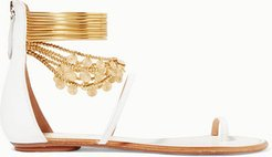 Queen Of The Desert Embellished Leather Sandals - White