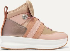 Nicole Canvas, Leather And Suede High-top Sneakers - Blush