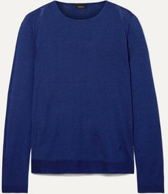 Cashmere And Mulberry Silk-blend Sweater - Navy