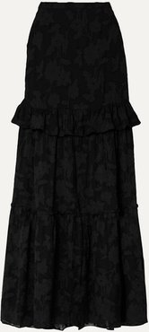 Lilith Ruffled Fil Coupé Silk And Cotton-blend Chiffon Maxi Skirt - Black