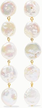 Gold-plated Pearl Earrings - White