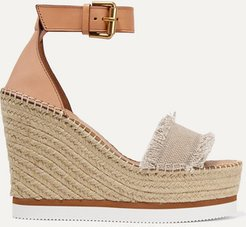 Canvas And Leather Espadrille Wedge Sandals - Beige