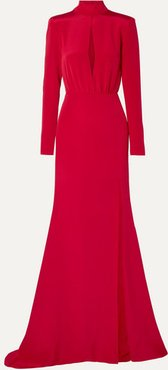 Cutout Silk-crepe Gown - Red