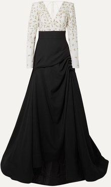 Ruched Embellished Tulle And Crepe Gown - Black