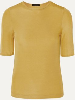 The Bound Ribbed Stretch-jersey T-shirt - Yellow
