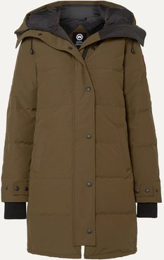 Shelbourne Hooded Quilted Shell Down Parka - Army green