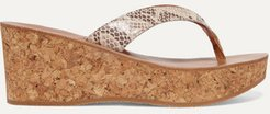 Diorite Snake-effect Leather Wedge Sandals - Snake print