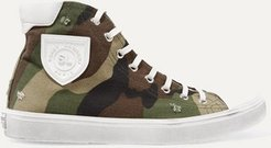 Bedford Logo-appliquéd Distressed Printed Canvas High-top Sneakers - Army green